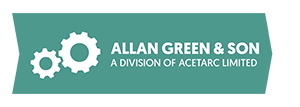 Allan green son landscape logo 300px white arrow